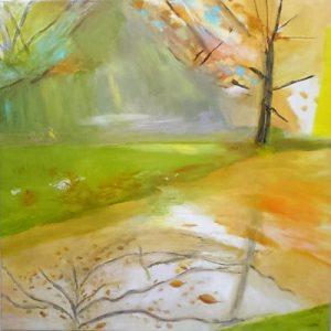 Bushy Park, oil painting, landscape, artist Javqueline Hall
