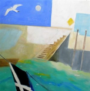 Artist Jacqueline Hall, landscape Looe Cornwall, oil painting