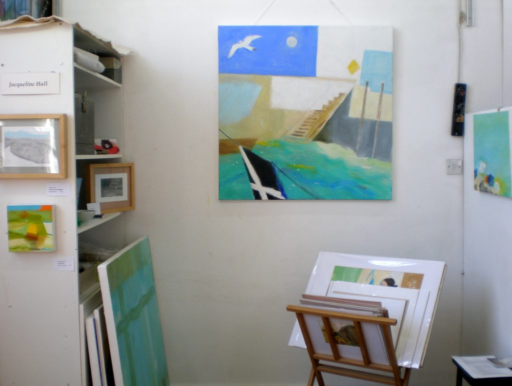 Oil painting, Looe , Cornwall, 100x100cm, artist Jacqueline Hall