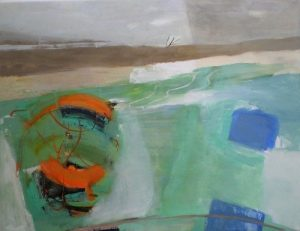 artist Jacqueline Hall, oil painting, framed. River Thames at Putney Bridge. 90x70cm