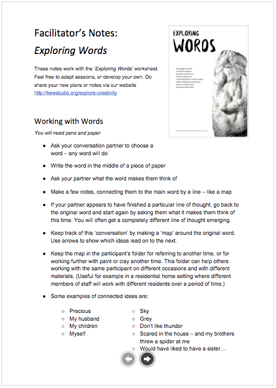 Facilitators Notes: Exploring Words