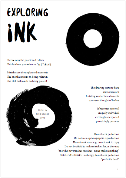 Download the Exploring Ink worksheet
