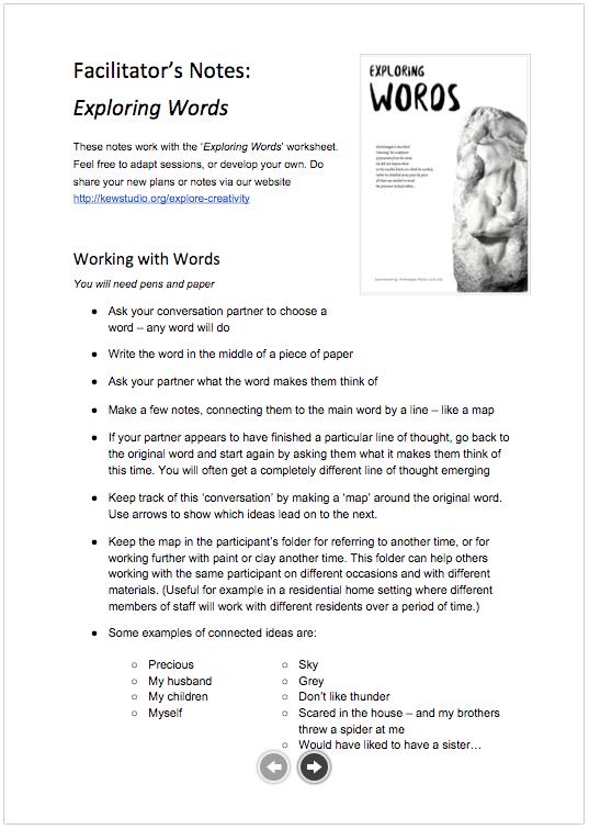 Facilitators Notes: Exploring Words